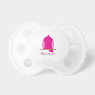 Personalized Pink Baby Bird Pacifier