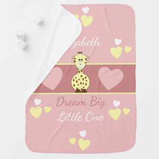 Personalized Pink Baby Blanket Giraffe Dream Big