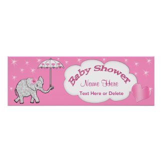 Personalized Pink Baby Elephant Baby Shower Banner Poster