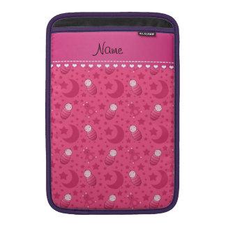 Personalized pink baby teddy bear stars moons MacBook sleeves
