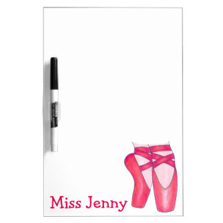 Personalized Pink Ballet Pointe Dance Teacher Gift Dry-Erase Whiteboards