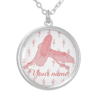 Personalized Pink Ballet Slippers Ballerina Silver Plated Necklace