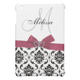 Personalized Pink Black Damask Monogram Cover For The iPad Mini