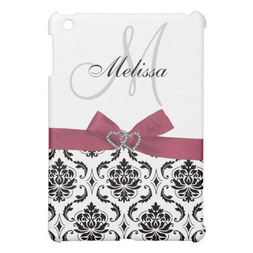 Personalized Pink Black Damask Monogram iPad Mini Cases