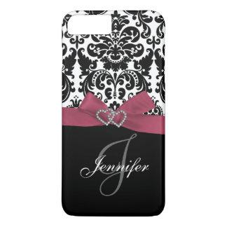 Personalized Pink, Black Ornate Damask Pattern iPhone 8 Plus/7 Plus Case