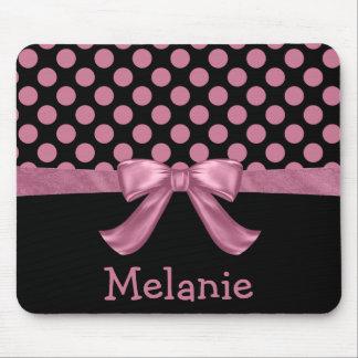 Personalized Pink Black Polka Dot Ribbon Bow Mouse Mat