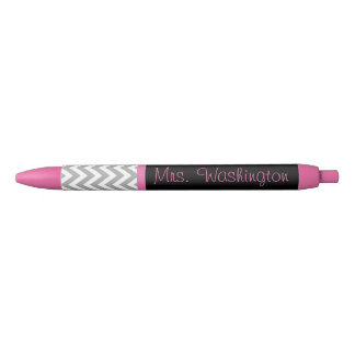 Personalized Pink Black Teacher's Writing Pen Gift