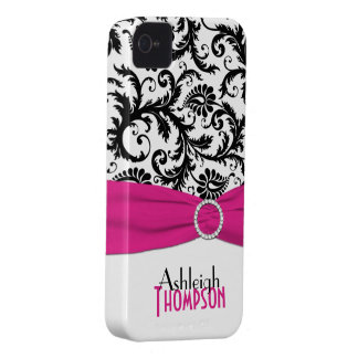 Personalized Pink, Black, White Floral Damask iPhone 4 Covers
