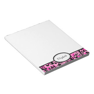 Personalized Pink, Black, White Floral Notepad