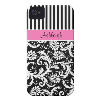 Personalized Pink Black White Striped Damask iPhone 4 Case