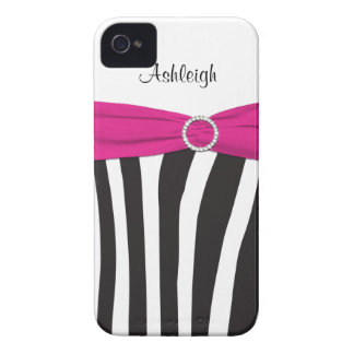 Personalized Pink Black White Zebra Striped Case-Mate iPhone 4 Cases