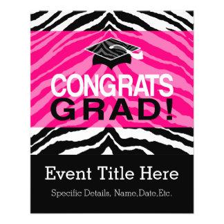 Personalized Pink Black Zebra Graduation Party Full Color Flyer