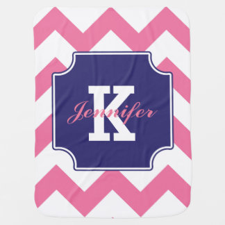 Personalized Pink Blue Chevron Pattern Baby Blanket