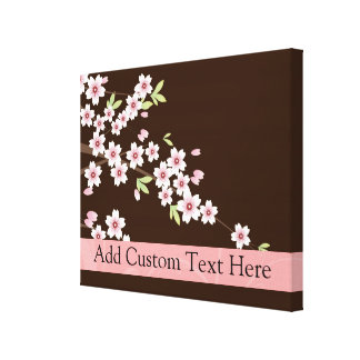 Personalized Pink/Brown Dogwood Blossom Canvas Print
