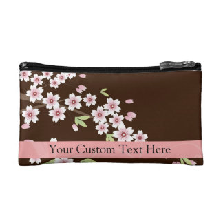 Personalized Pink/Brown Dogwood Blossom Makeup Bags