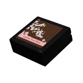 Personalized Pink/Brown Dogwood Blossom Small Square Gift Box