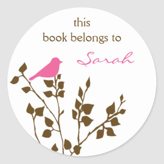 Personalized Pink Brown Girly Bird Book Stickers