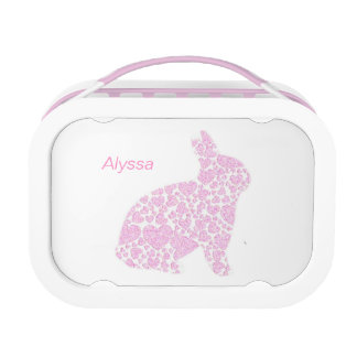 Personalized Pink Bunny Rabbit Lunch Box