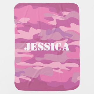Personalized pink camouflage color baby blanket