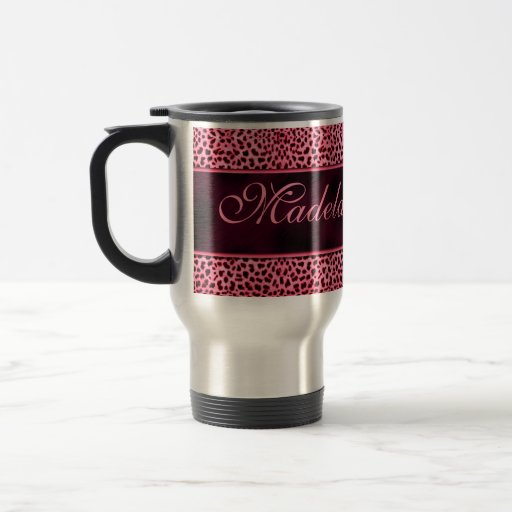 Personalized Pink Cheetah Print Travel Mug
