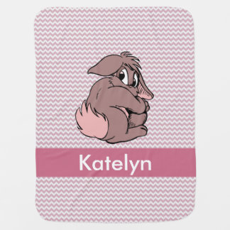 Personalized | Pink Chevron Bunny Rabbit Baby Blanket