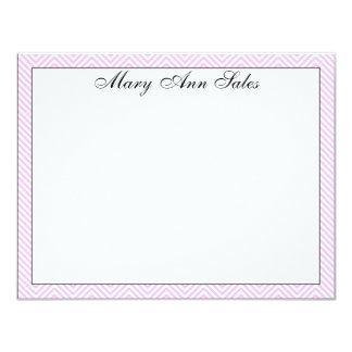 Personalized Pink Chevron Correspondence Card