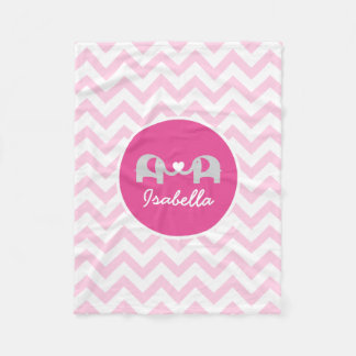 Personalized Pink Chevron Elephant Baby Blanket