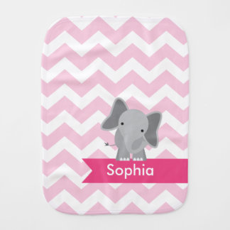 Personalized Pink Chevron Elephant Burp Cloth