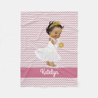 Personalized Pink Chevrons Ethnic Princess Nursery Fleece Blanket