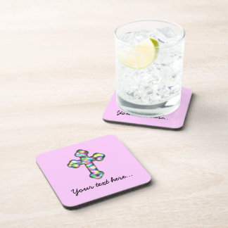 Personalized Pink Cross Coaster