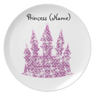 Personalized Pink Crystal Cinderella Castle Plate
