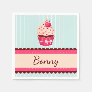 Personalized Pink Cupcake Mint Blue Background Disposable Napkin
