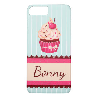 Personalized Pink Cupcake Mint Blue Background iPhone 7 Plus Case
