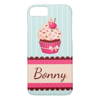 Personalized Pink Cupcake Mint Blue Background iPhone 8/7 Case