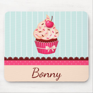 Personalized Pink Cupcake Mint Blue Background Mouse Mat