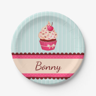 Personalized Pink Cupcake Mint Blue Background Paper Plate