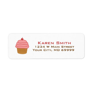 Personalized Pink Cupcake Return Address Label