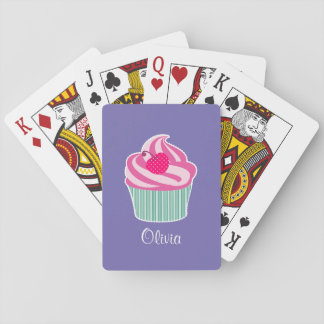 Personalized Pink Cupcake WIth Polka Dot Cherry Playing Cards