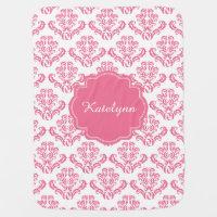 Pink Damask Pattern Baby Blanket