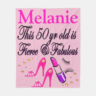 PERSONALIZED PINK DIVA 50TH BIRTHDAY BLANKET