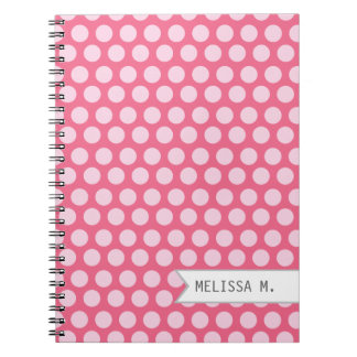 Personalized Pink Dots Spiral Notebooks