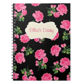 Personalized Pink english roses black notebook