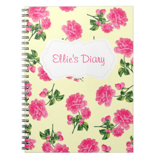 Personalized Pink english roses cream notebook