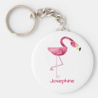 Personalized Pink Flamingo Bird Key Ring