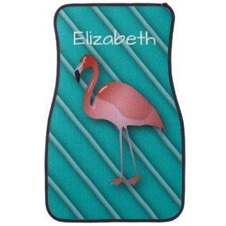 Personalized Pink Flamingo Car Mat