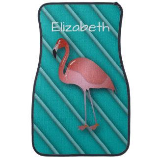 Personalized Pink Flamingo Car Mat
