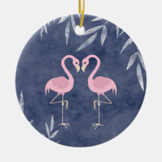 Personalized Pink Flamingo Couple Tropical Beach Christmas Ornament
