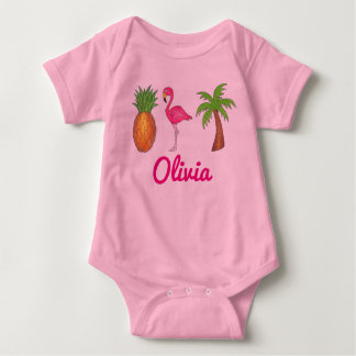 Personalized Pink Flamingo Palm Tree Pineapple Baby Bodysuit