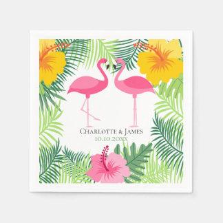 Personalized Pink Flamingo Tropical Aloha Paper Serviettes