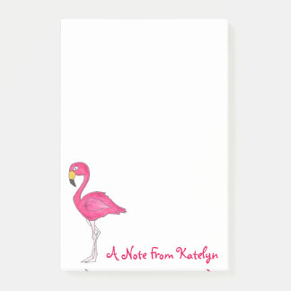 Personalized Pink Flamingo Tropical Island Bird Post-it Notes